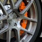 Close-up of wheels and brakes