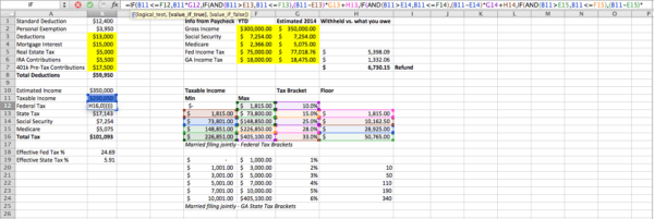 excel spreadsheet to estimate federal and state income taxes