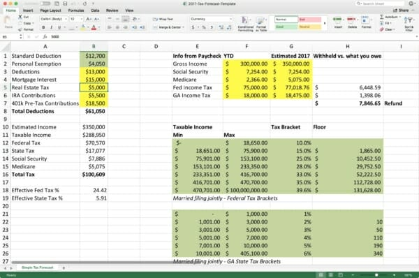 tax spreadsheet