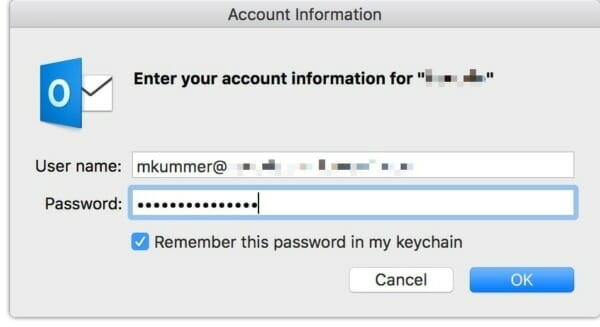 Outlook for Mac keeps asking for password of Office 365 account
