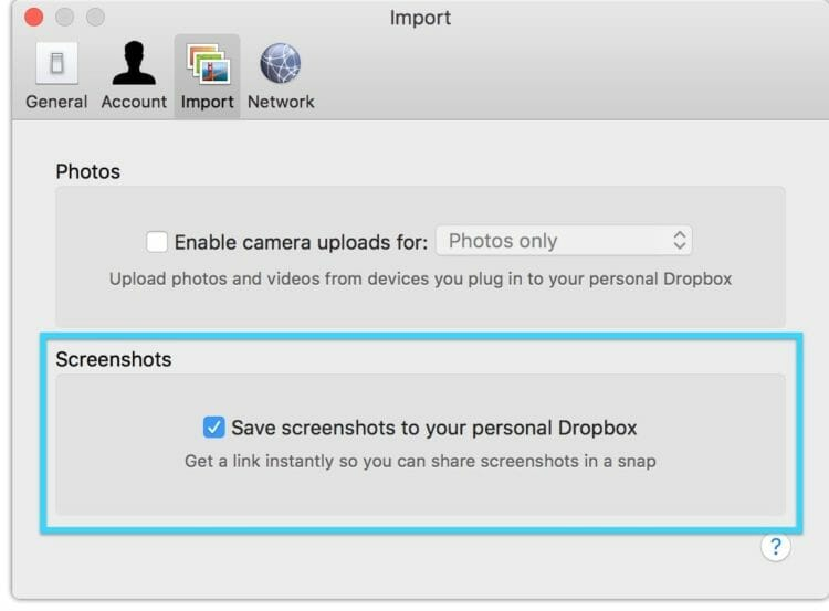 How to take a screenshot on macOS and create a Dropbox link