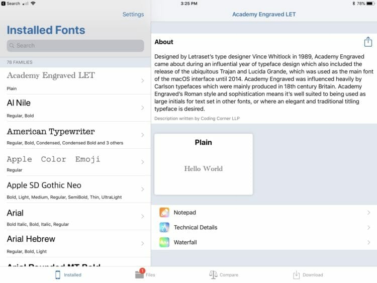 The new iFont 4.0 on iPad