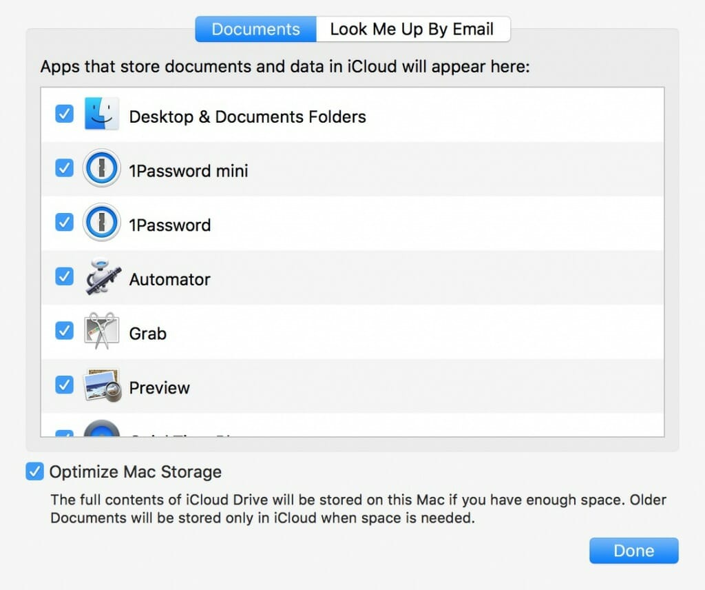 iCloud can optimize the storage on your Mac