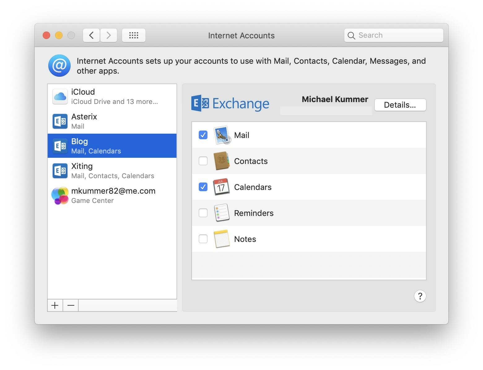 Internet Accounts in System Preferences