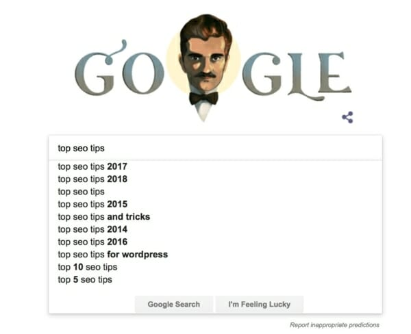Google search predictions