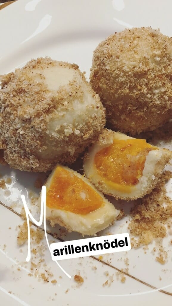 Austrian Marillenknödel: A traditional main dish. Delicious but not very healthy