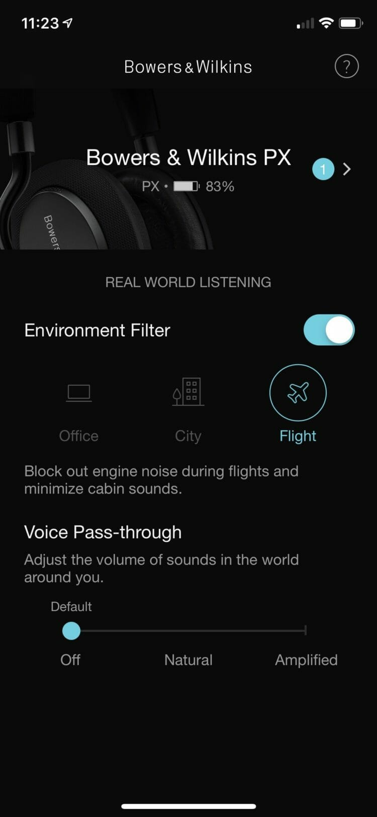 Environment Filter and Voice Pass-through Settings