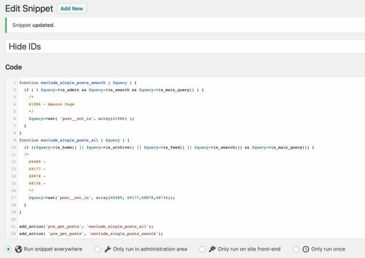 Code Snippets to hide Posts