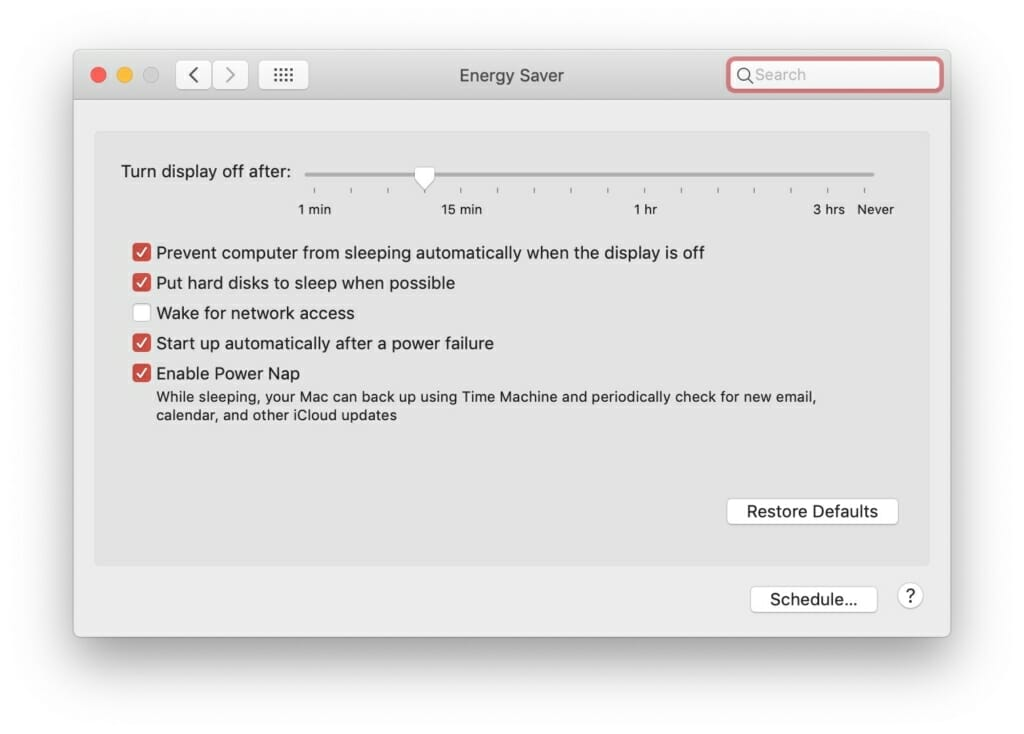 Mac Energy Saver settings