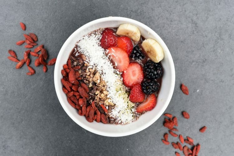 Breakfast Bowl with food high in fiber