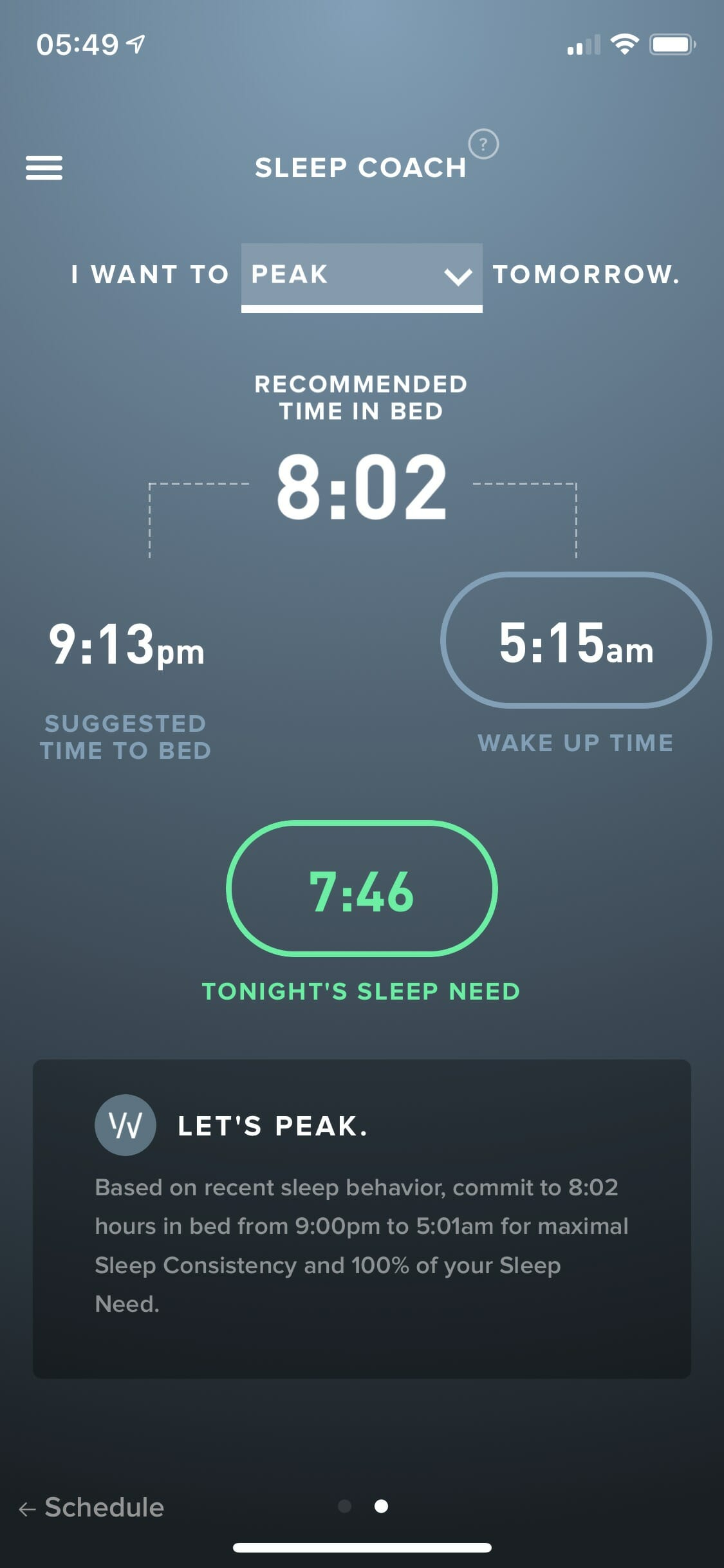 WHOOP App Sleep Coach