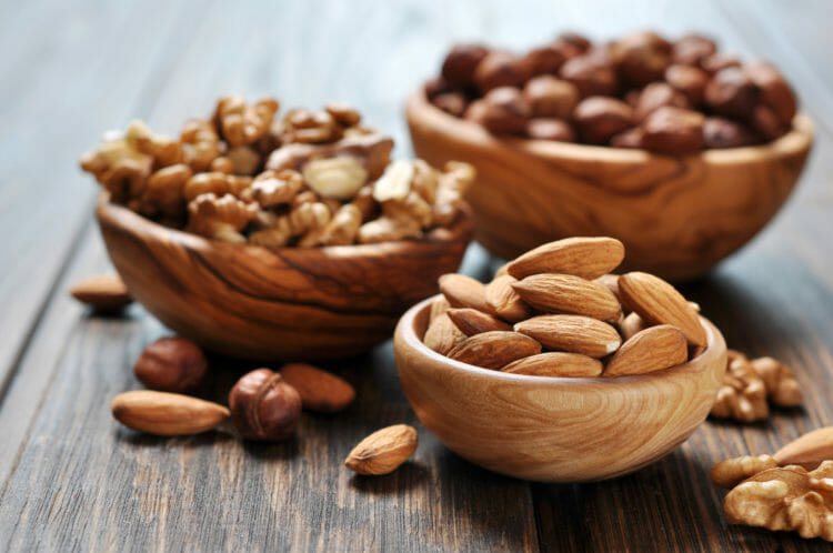 Almonds, hazelnuts and walnuts.
