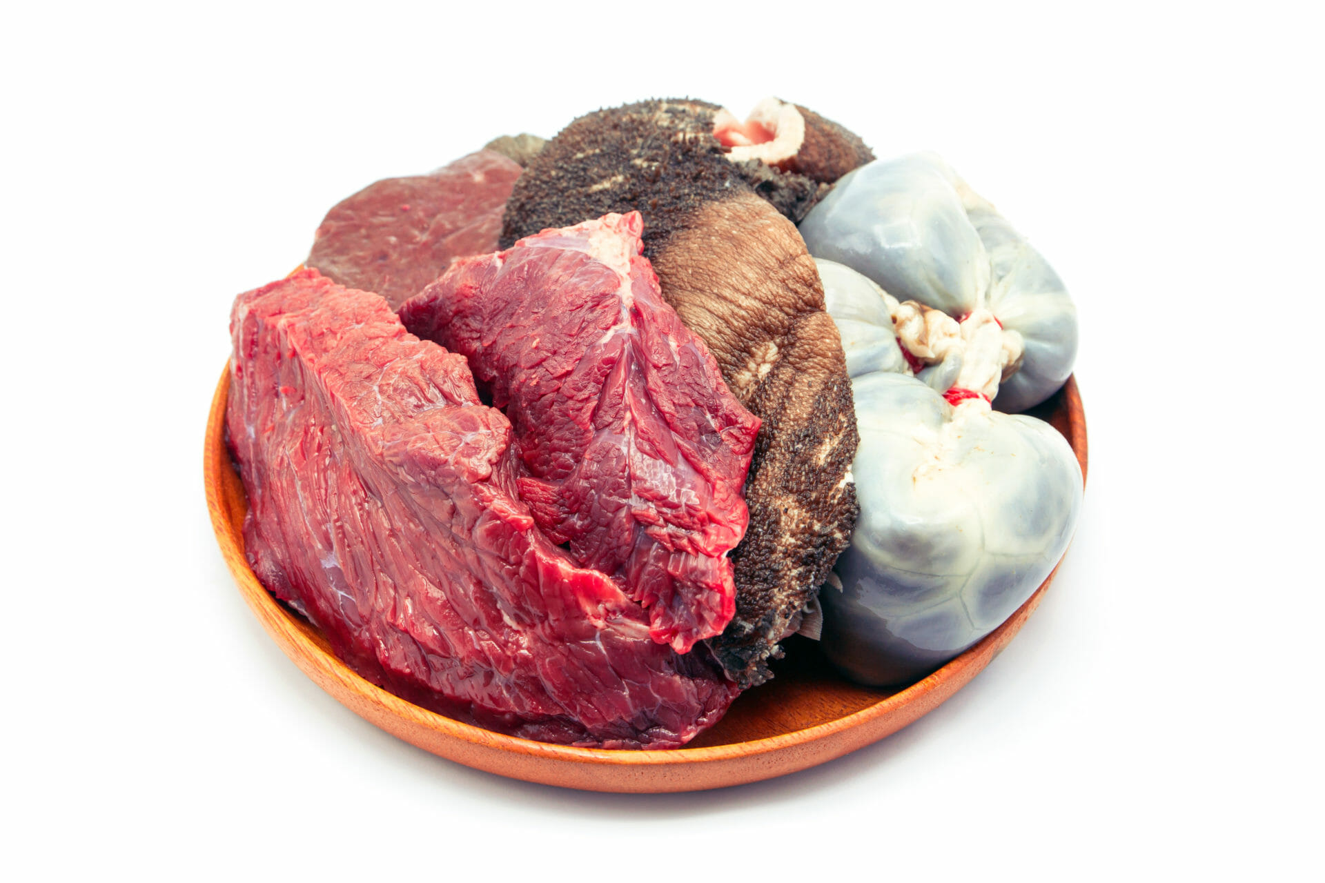 raw beef meat and cow internal organ