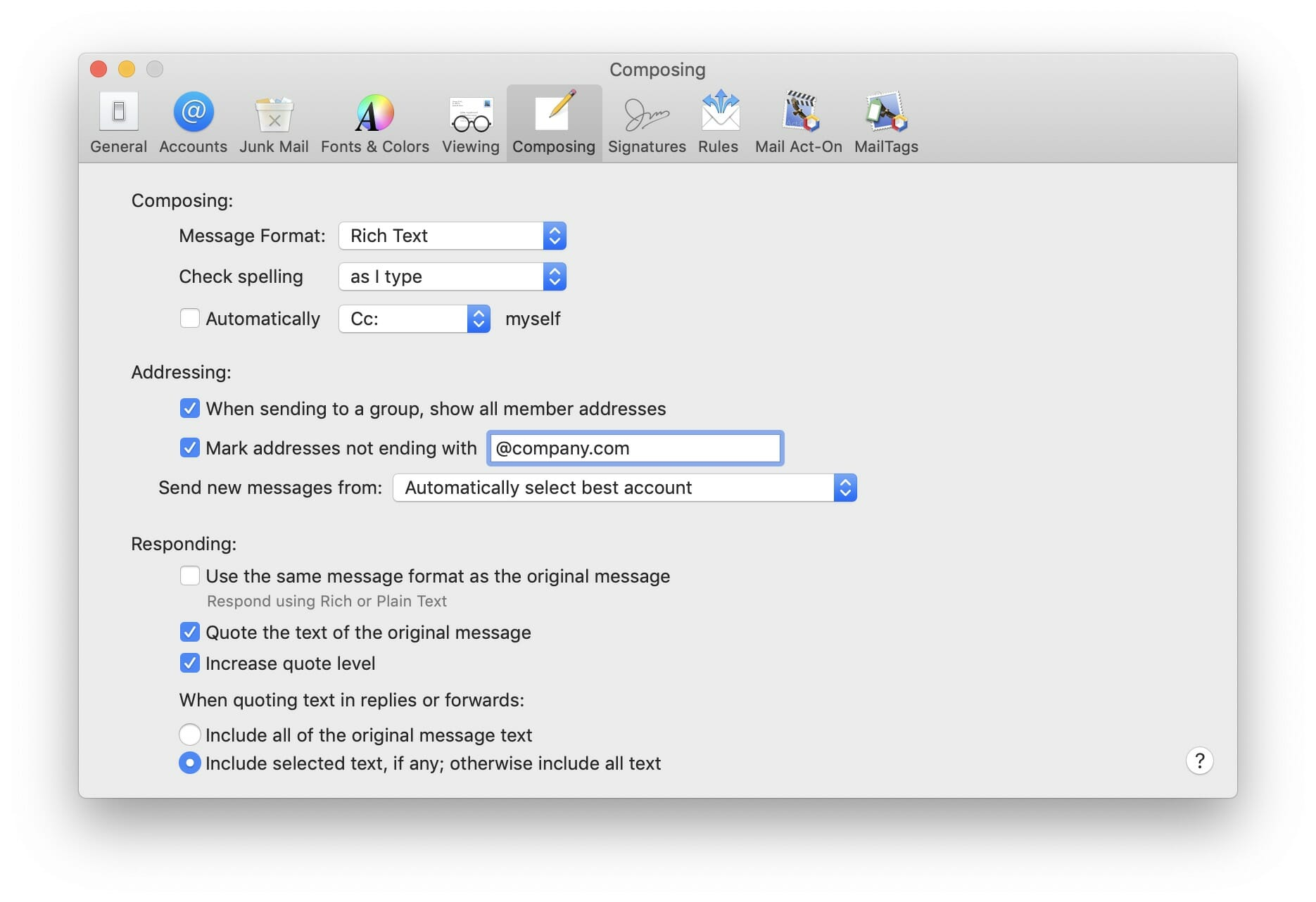 Apple Mail settings