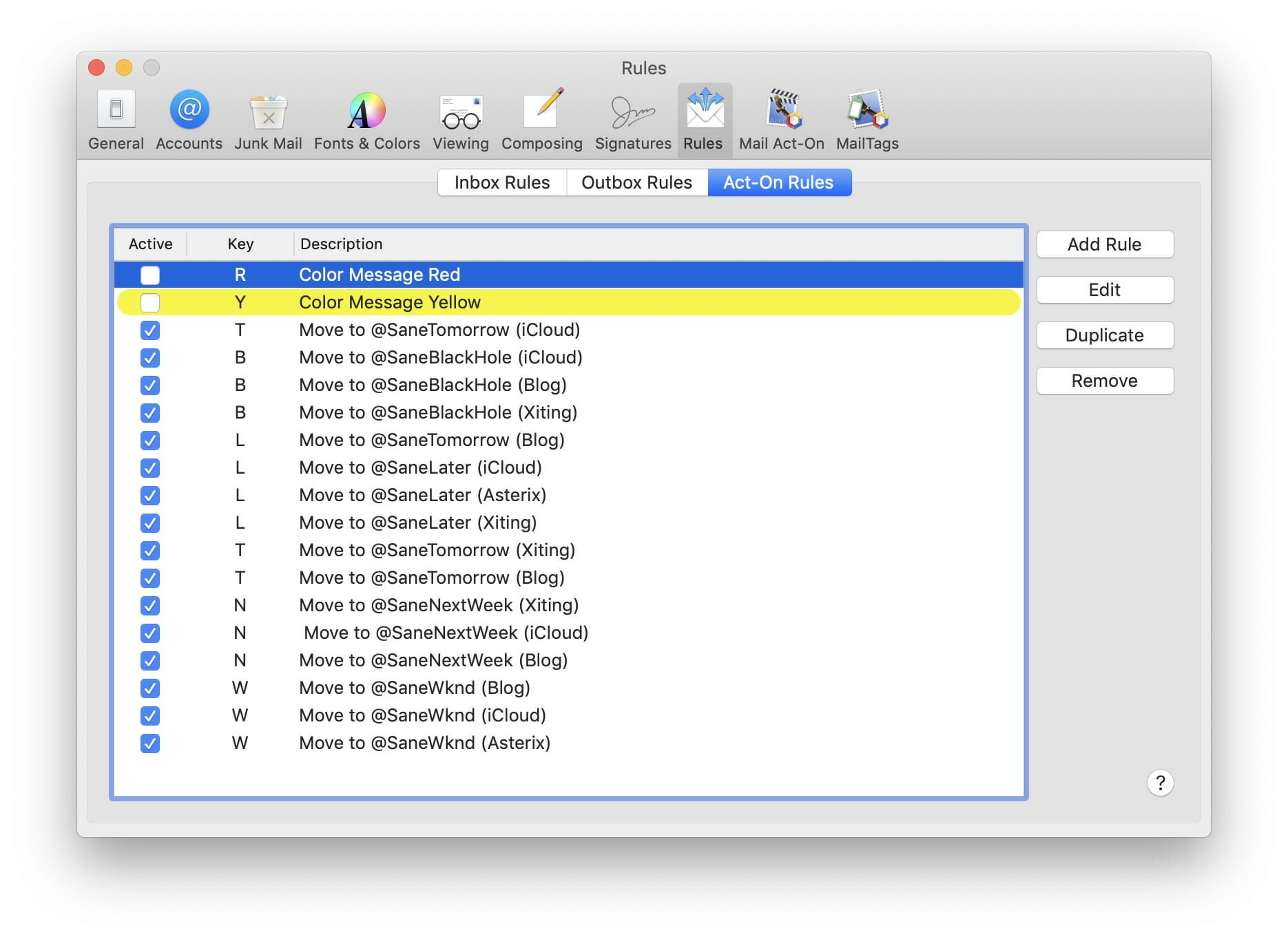Mail Act-On Screenshot: Custom Keystrokes.