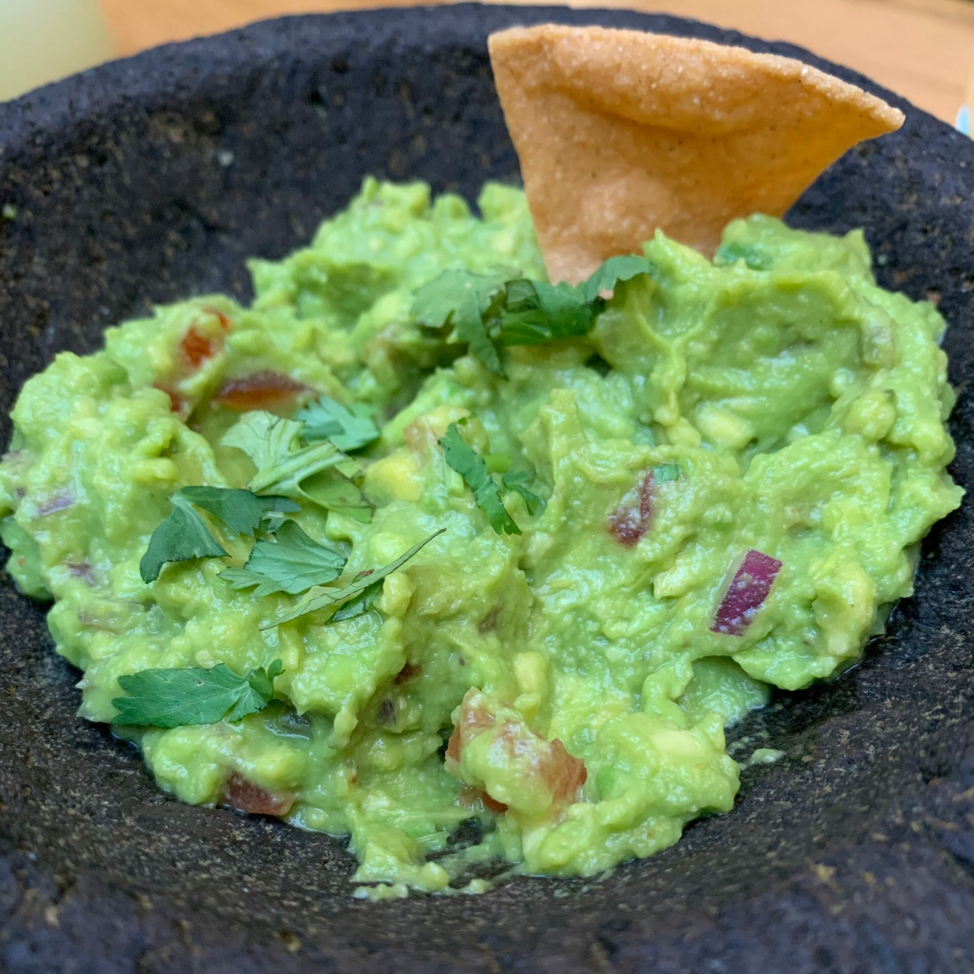 Guacamole with a few chips
