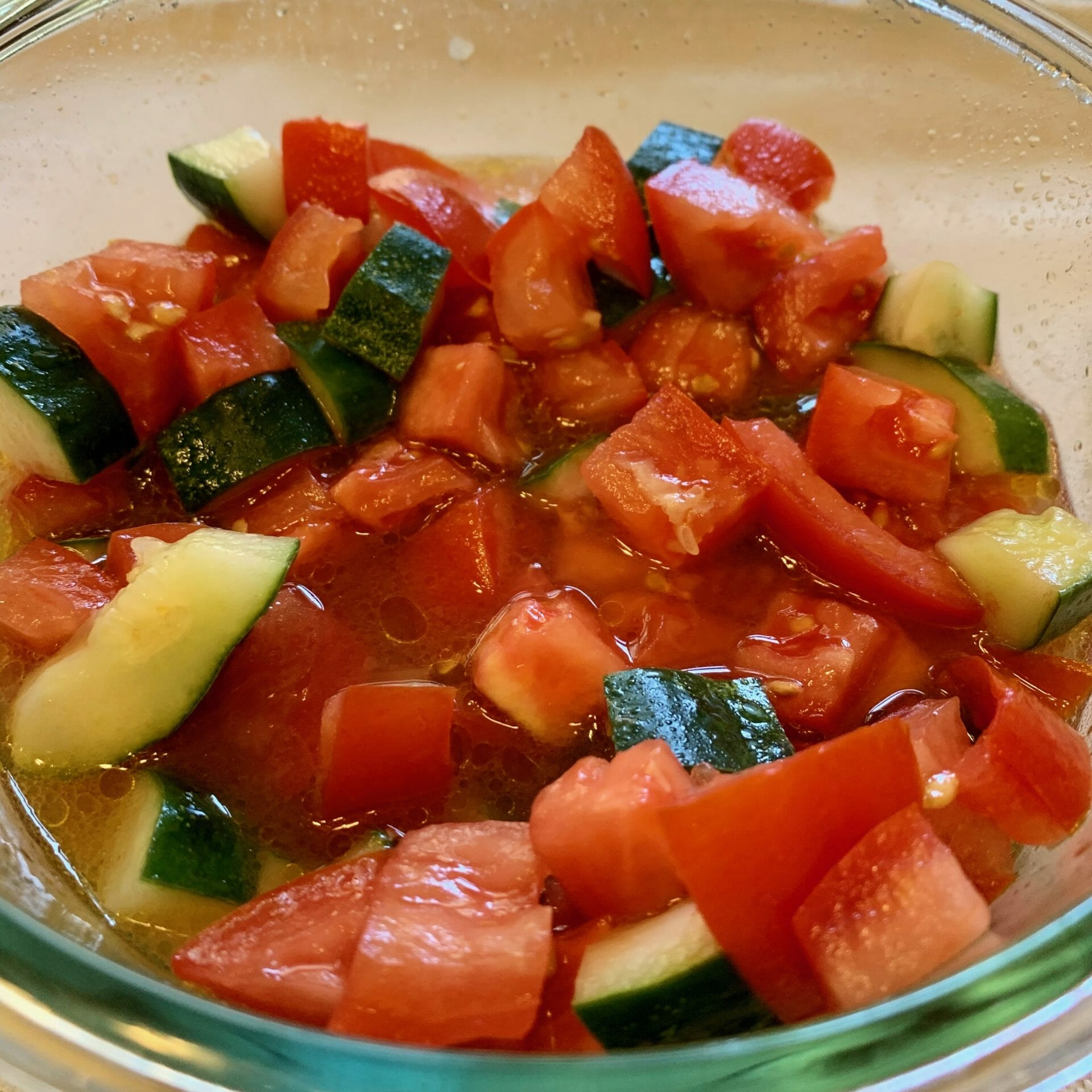 Salad made with diced tomatoes and cucumbers