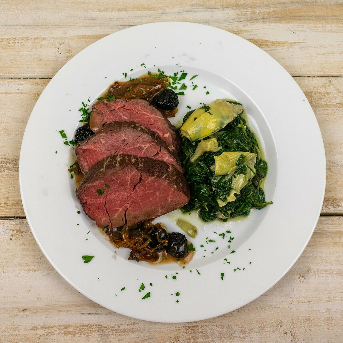 Paleo on the Go - Filet with Spinach Artichoke Casserole